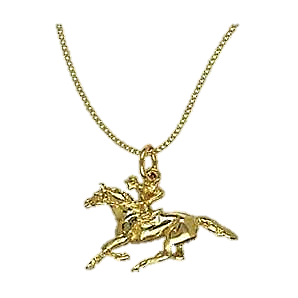 Racehorse and jockey pendant and chain